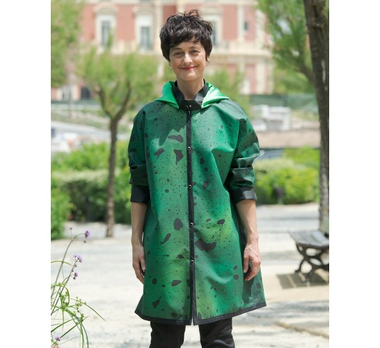 "Rain Jacket ""When The Rain Is Painting The Coat"" Green. Handmade and Hand Painted. Free Shipping. 10 Years Guarantee."
